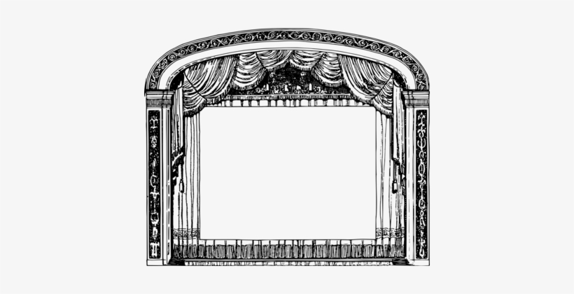 Black And White Theater Drapes And Stage Curtains Borders.