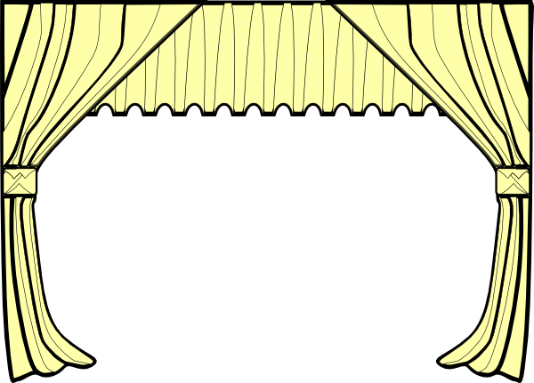 Stage curtain clipart black and white.