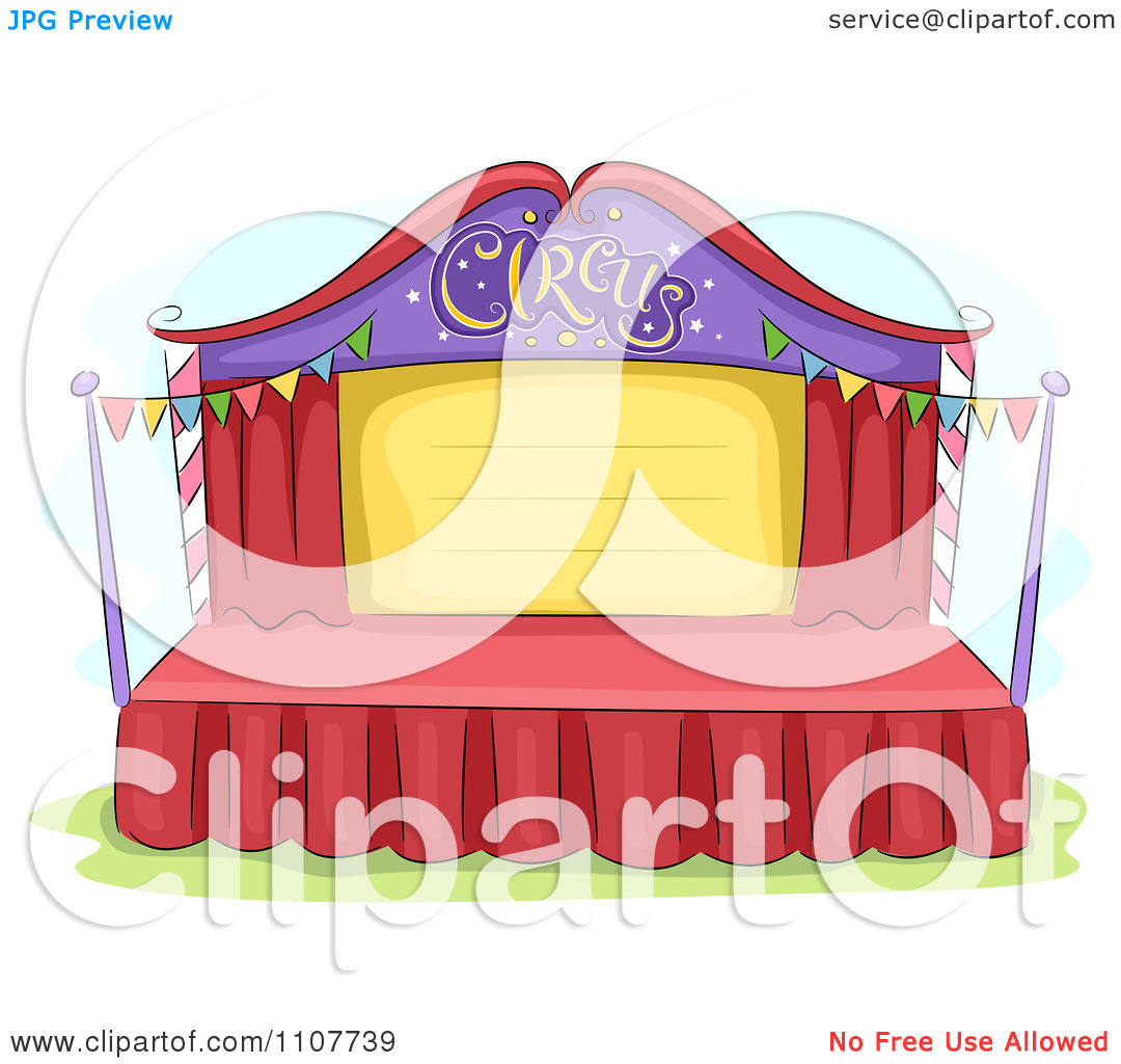 Clipart Empty Circus Stage With Bunting Flags.