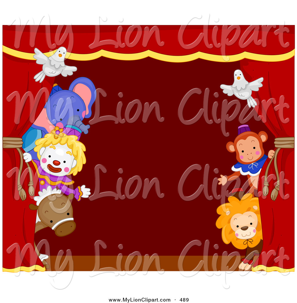 Clipart of a Group of Circus Animals Peeking Around a Red Stage.