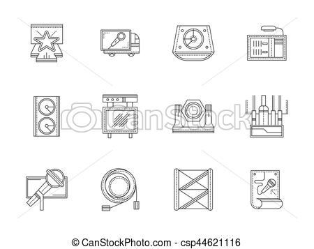 Vector Clip Art of Stage equipment flat line vector icons set.