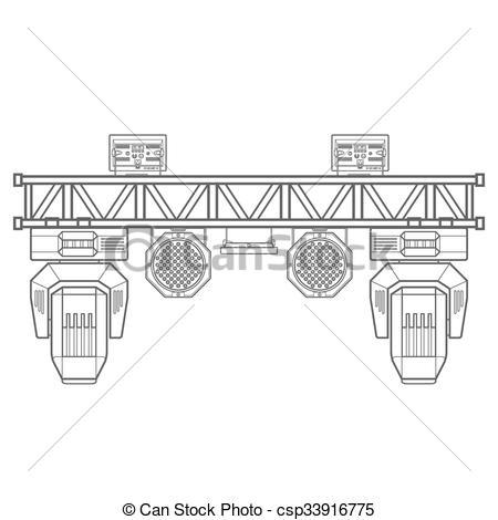Vectors Illustration Of Outline Stage Metal Truss Concert Lighting