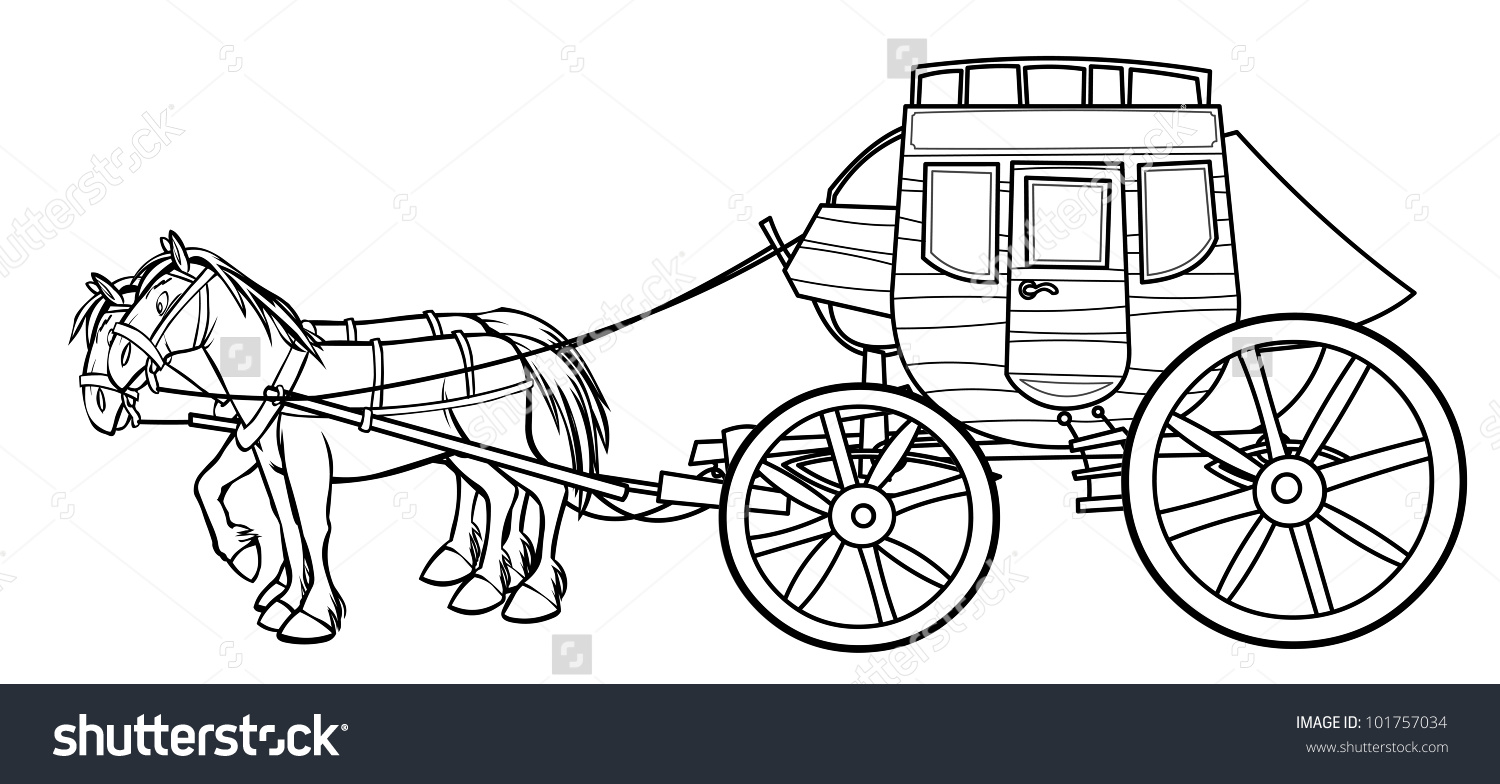 Western Stagecoach Horses Outline Drawing Stock Illustration.