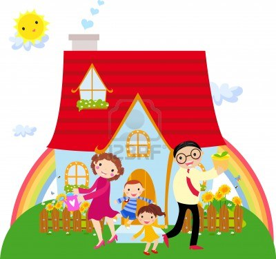 Family Moving Houses Clipart.