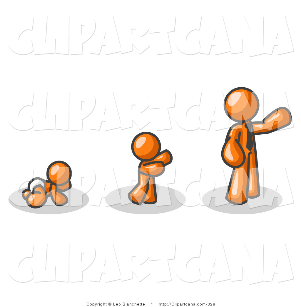 Vector Clip Art of an Orange Person in His Growth Stages of Life.