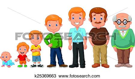 Clipart of Cartoon development stages of man k25369663.