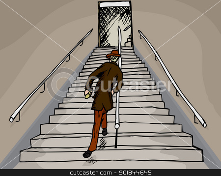 Drunken Man on Stairs stock vector.