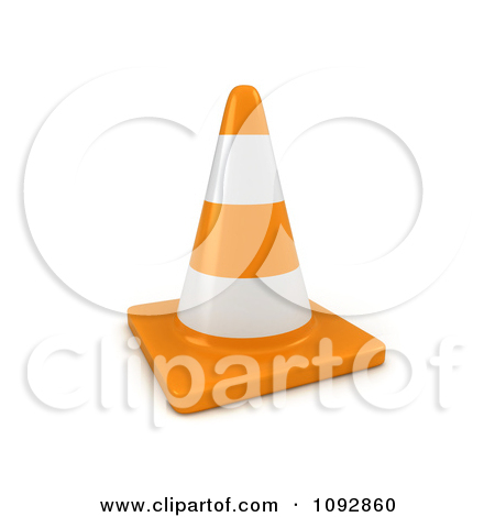 Clipart of Staggered Traffic Cones.