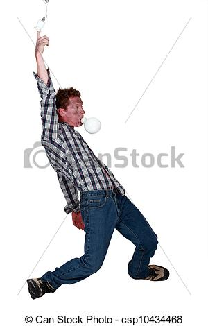 Stock Image of An electrocuted man staggering csp10496069.