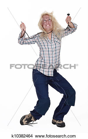 Stock Photo of Electrocuted woman staggering k10382464.
