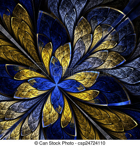 Clipart of Beautiful fractal as flower or butterfly in stained.