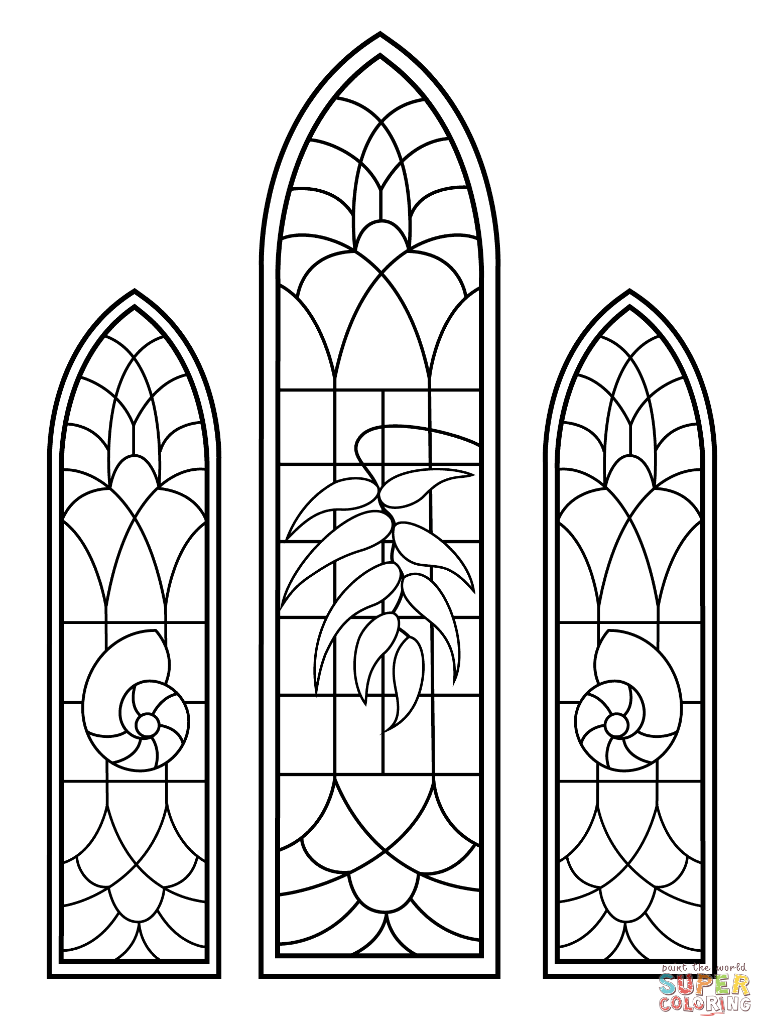 Stained Glass coloring pages.