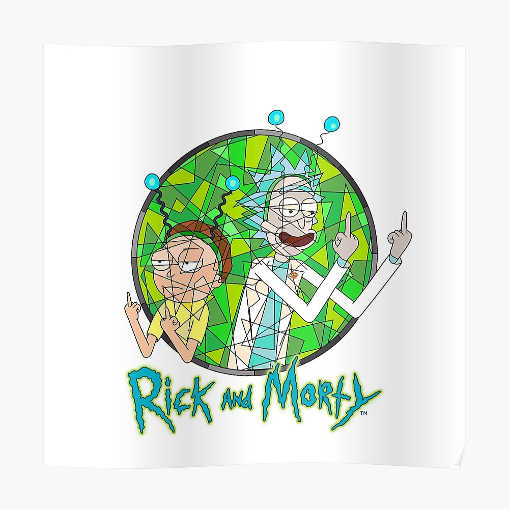 Stained Glass Dimension Rick and Morty with Logo.