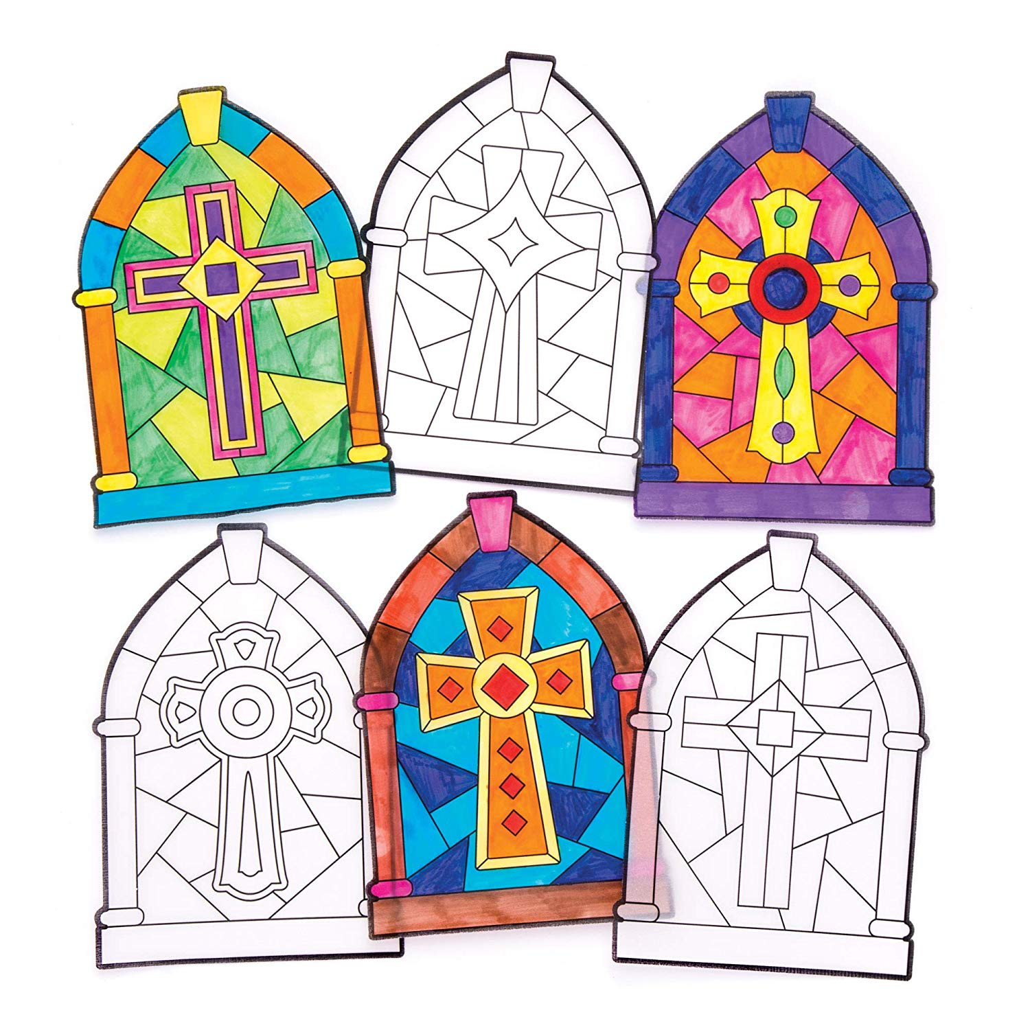 Baker Ross Cross Stained Glass Window Decorations (Pack of.