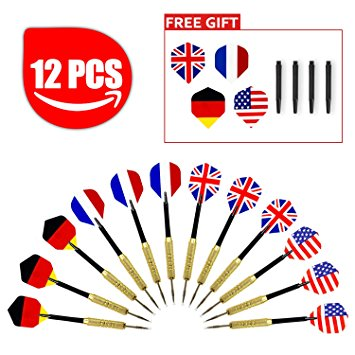 Aodoor 12 Piece Darts Set with National Flag Flights, Stainless.