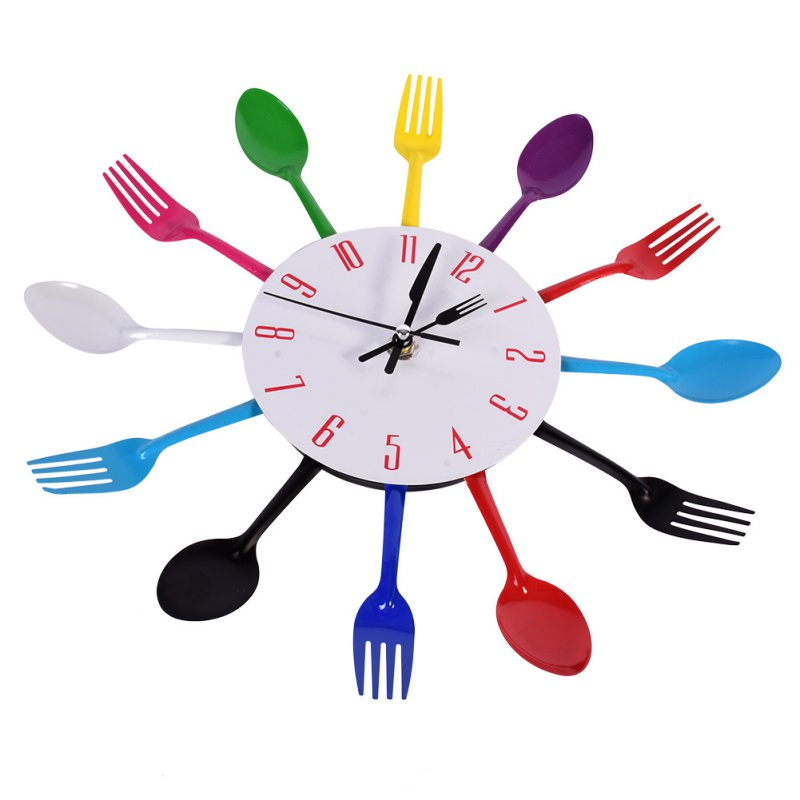 Large 3D Wall Clock Modern Design Stainless Steel Kitchen Wall.
