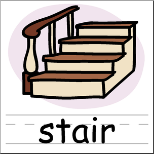 Clip Art: Basic Words: Stair Color Labeled I abcteach.com.