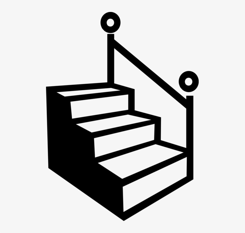 Vector Illustration Of Staircase Stairs With Handrail.