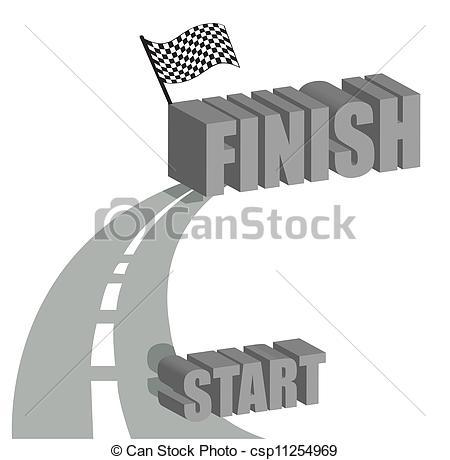 Clip Art Vector of Start to finish road illustration design over.
