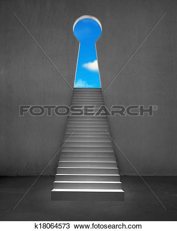 Drawing of Key shape door on wall with stairs and blue sky.