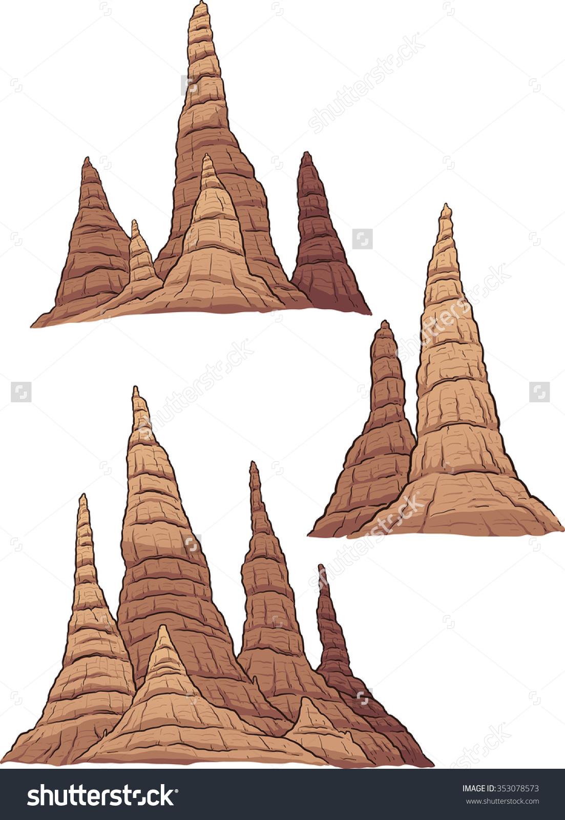 Cartoon Stalagmites Vector Clip Art Illustration Stock Vector.