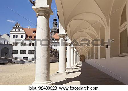 "Stock Photo of ""Stallhof courtyard, arcade, Dresden Castle, UNESCO."
