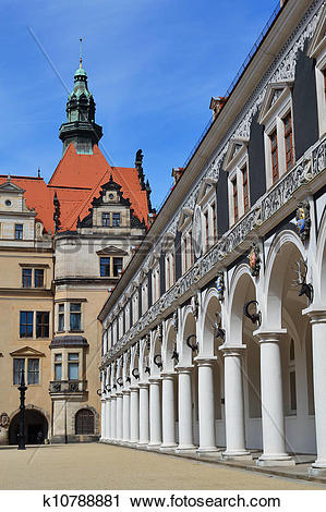Stock Photography of Horse court yard in Dresden k10788881.