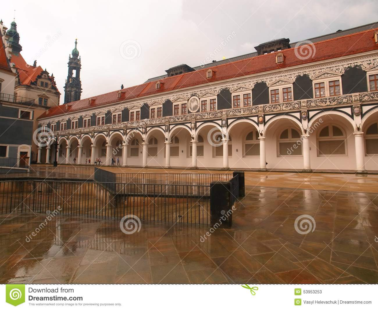 Colonnade At The Castle Stallhof In Dresden, Germany Stock Photo.
