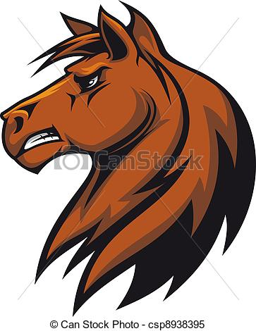 Clipart Vector of Brown stallion head for mascot or equestrian.