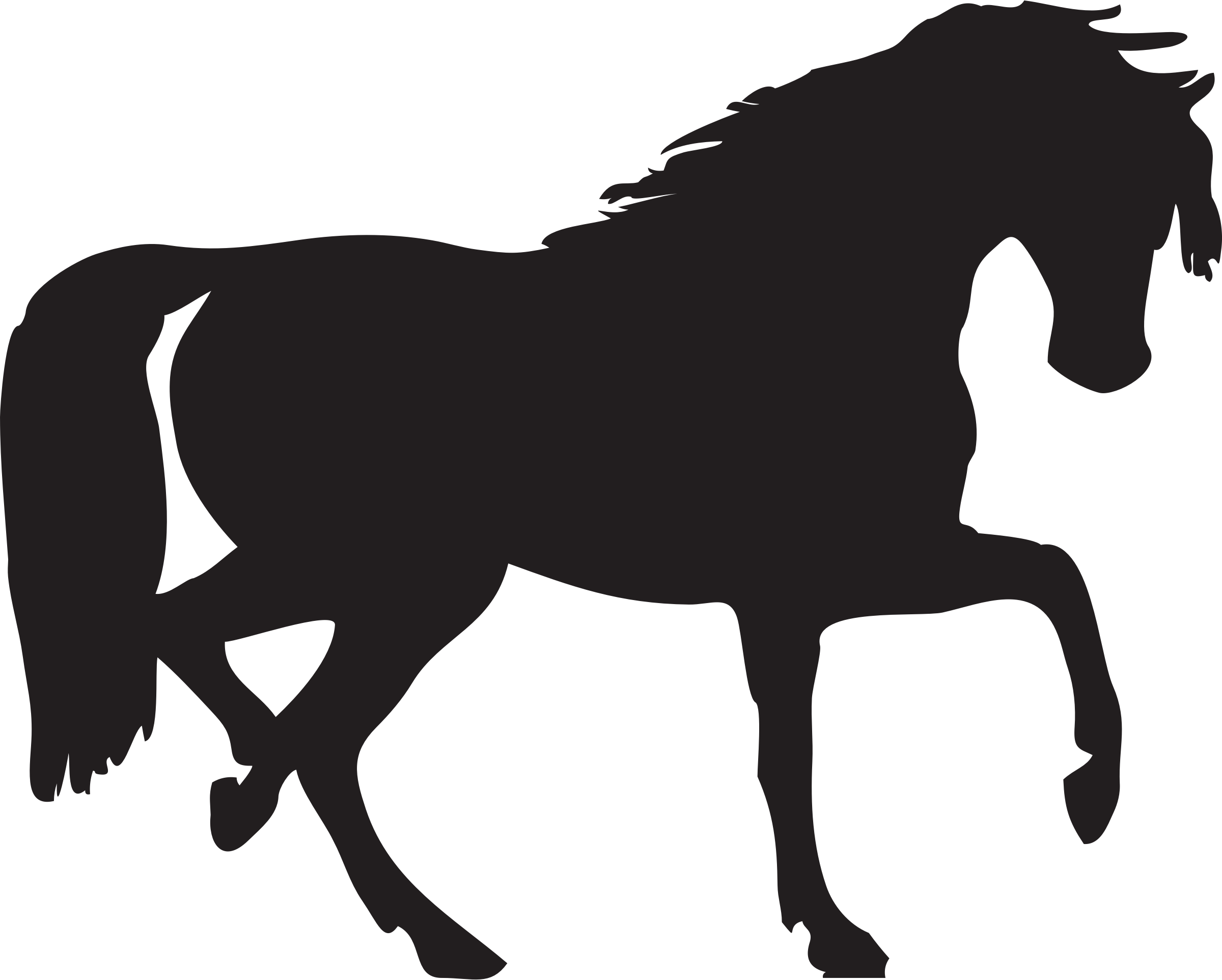 Horse silhouette vector clipart image.