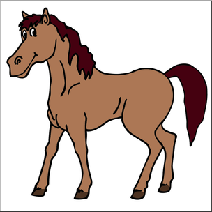 Clip Art: Cartoon Horse: Stallion Color I abcteach.com.