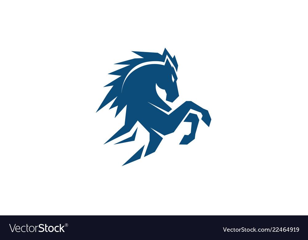 Creative standing blue horse logo.