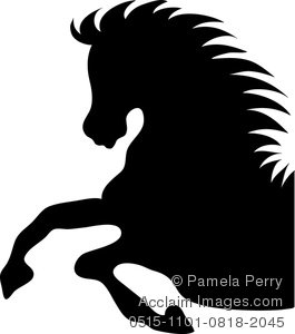 Clip Art Image of a Stallion Reared Up Horse Silhouette in Profile.