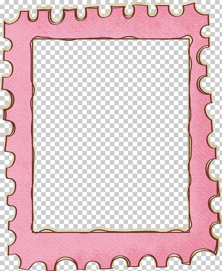 Postage stamp frame , Cute stamps border, pink puzzle mat.