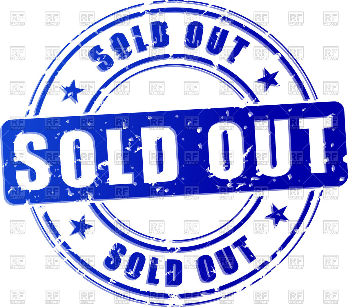 Blue stamp print with inscription Sold Out Vector Image #70610.