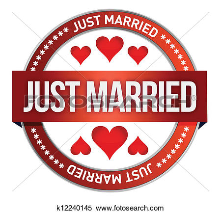Clipart of Just Married stamp print illustrati k12240145.