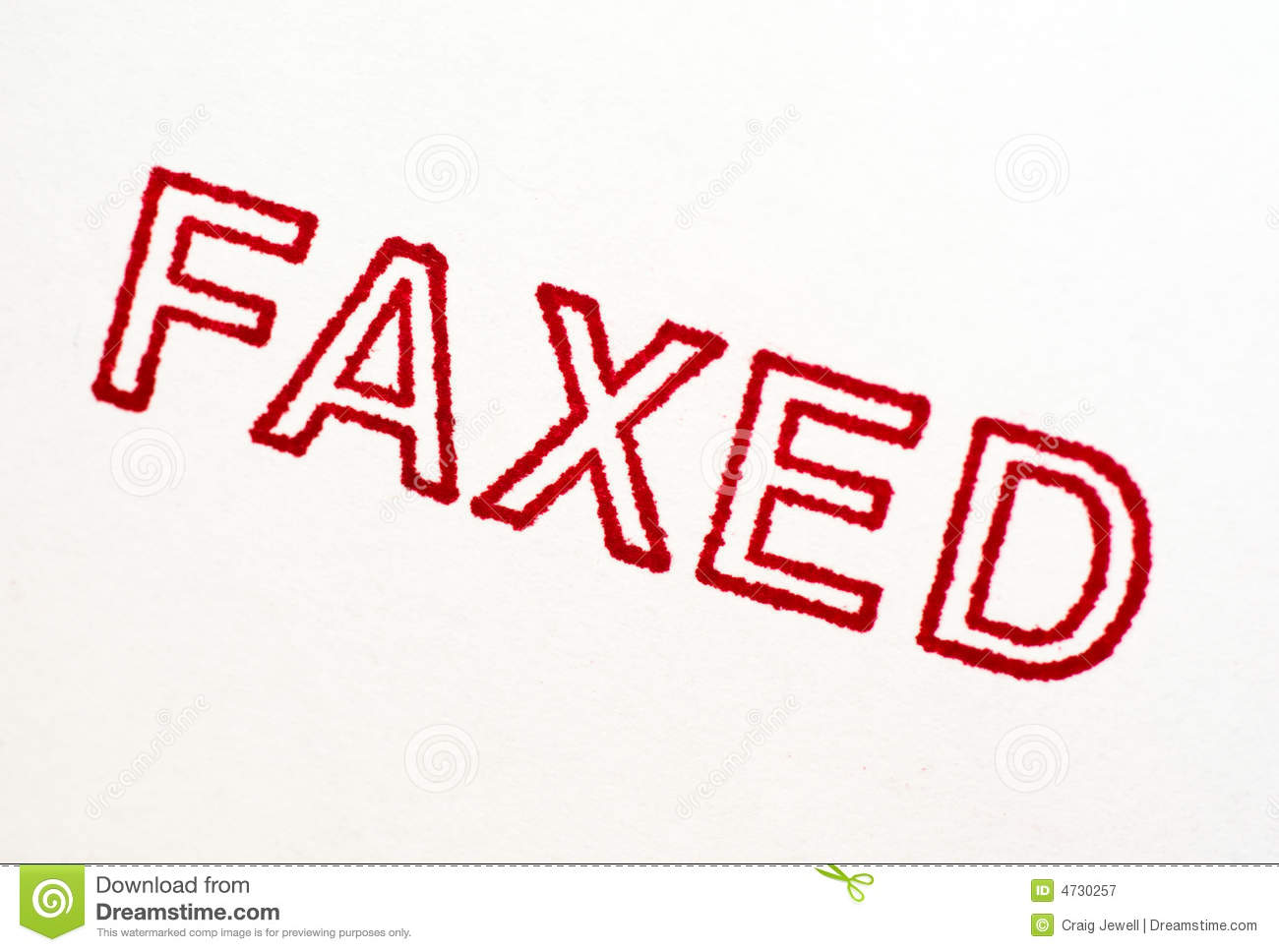Faxed: Rubber Stamp Print Isolated On White Royalty Free Stock.