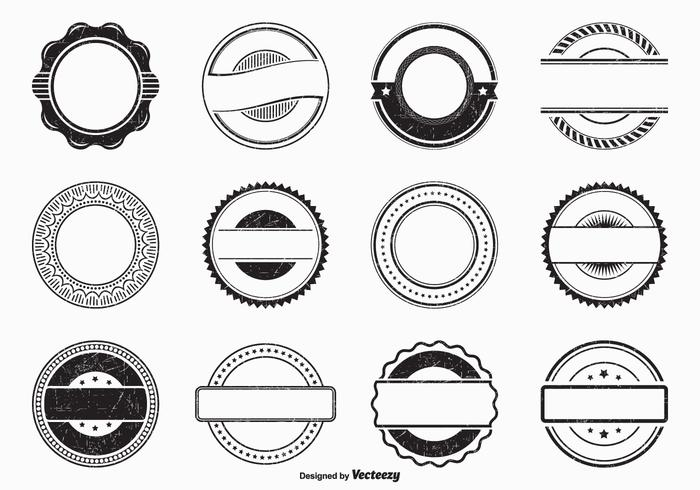 Black Empty Grunge Vector Rubber Stamps.