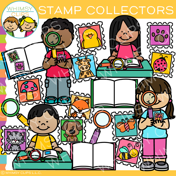 Stamp Collector Kids Clip Art.