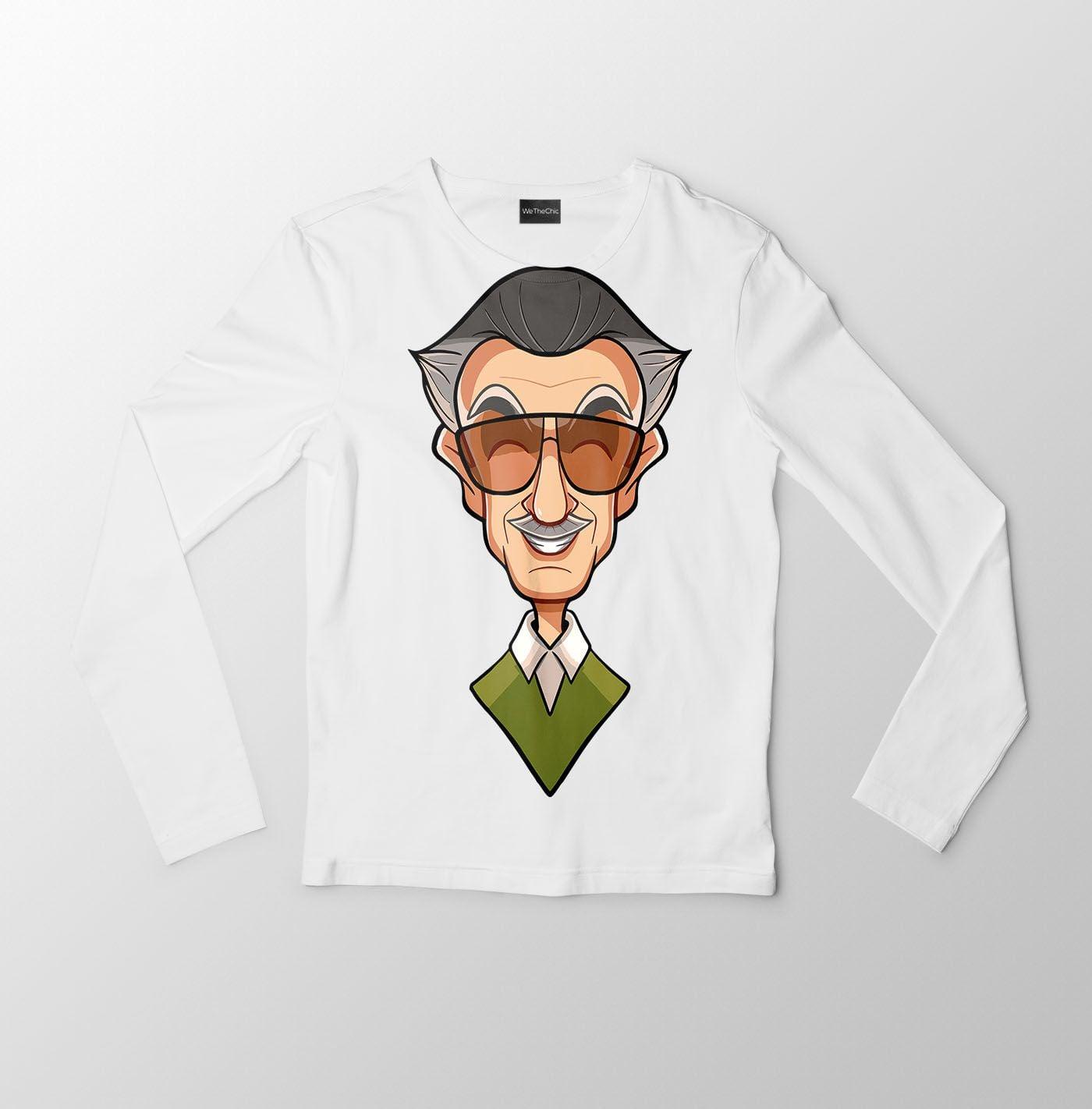 Stan Lee Caricature Men\'s Full Sleeves T.