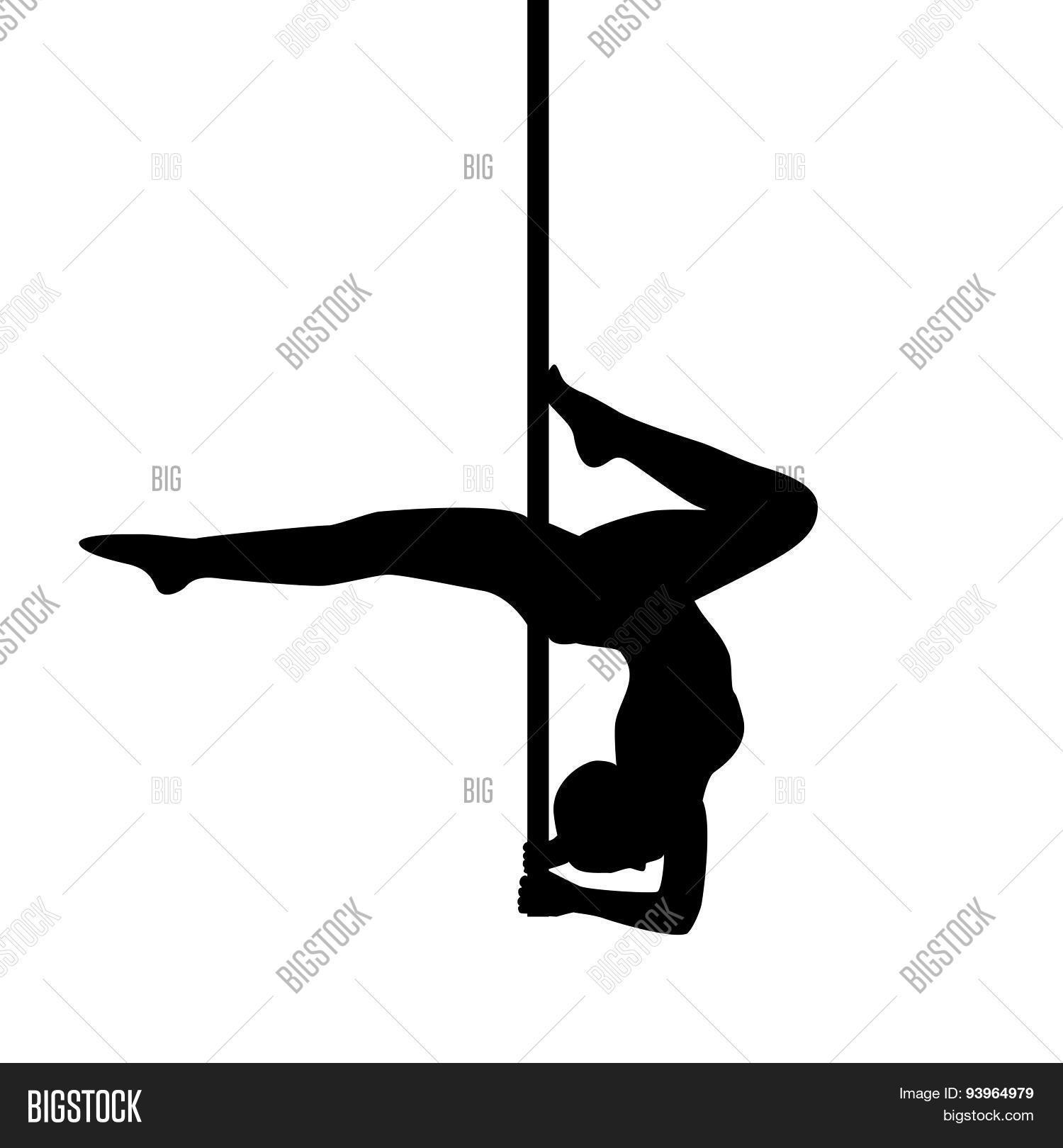 Pole Dancer In Pole Dance . Stand On The Elbows. Isolated On White.