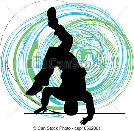 Clip Art Vector of Breakdancer dancing on hand stand silhouette.