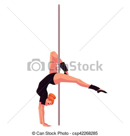 Vector of Young pole dance woman in black leotard doing hand stand.