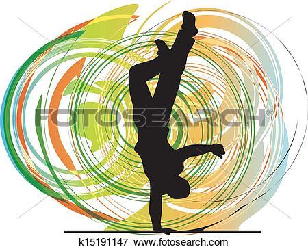 Clip Art of Breakdancer dancing on hand stand k15191147.