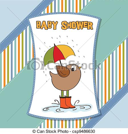 Vector Clipart of baby shower card with little bird stand in the.