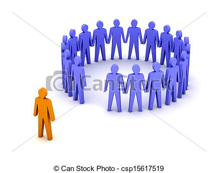 Clipart of Stand out from the crowd..