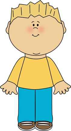 Boy standing still clipart.