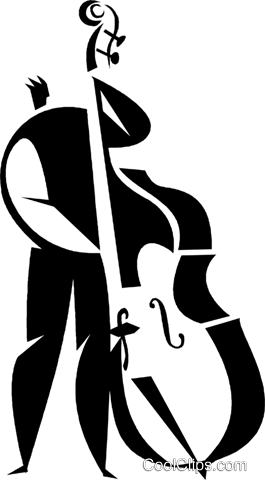 man playing a stand up bass Royalty Free Vector Clip Art.