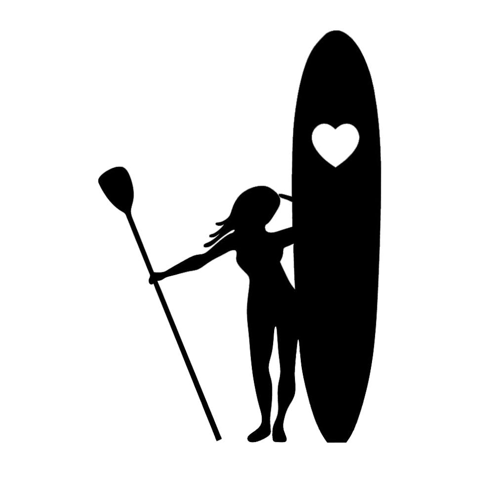 15*10.2cm Girl Stand Up Paddle Boarding Heart Love Surf Window Vinyl Decal  Car Accessories Car Stickers.