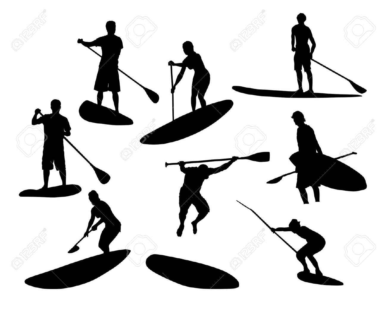 SUP Silhouettes 2 Royalty Free Cliparts, Vectors, And Stock.